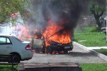 Mașină distrusă de flăcări! Imagini în EXCLUSIVITATE!!!