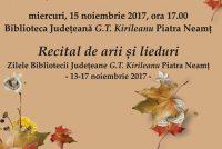 Recital de arii şi lieduri la Piatra Neamţ