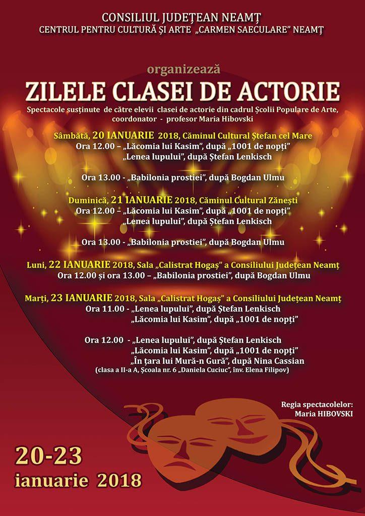 Program Zilele clasei de actorie 2018