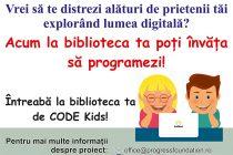 """""""Copiii fac coding"""" şi la Biblioteca Judeţeană G. T. Kirileanu"""