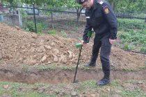 Un pietrean a descoperit un proiectil în curtea casei