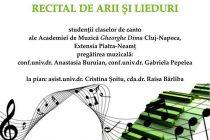 Un nou recital de arii şi lieduri la Biblioteca Judeţeană