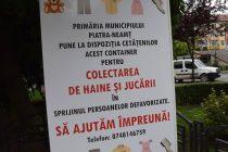 Container pentru colectarea de haine şi jucării în Piatra Neamţ