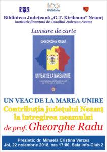 Afis lansare carte Gheorghe Radu