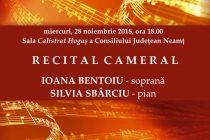 Recital cameral susţinut de soprana Ioana Bentoiu şi pianista Silvia Sbârciu