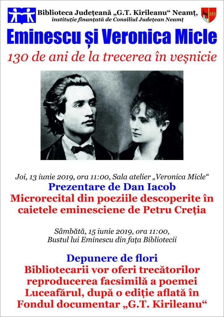 Eminescu si Veronica Micle 15 iunie 2019