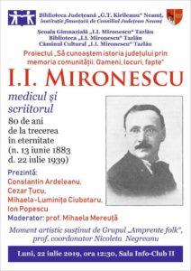 I I Mironescu evocat la Biblioteca judeteana