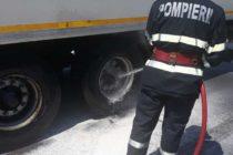 Unui TIR i-a luat foc o roată, în comuna Secuieni