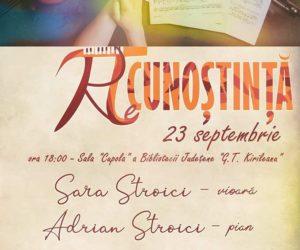 """""""reCunoștință"""" – recital muzical Sara Stroici la Biblioteca Județeană"""