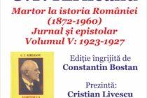 """G. T. Kirileanu – """"Martor la istoria României"""", lansare de carte la Biblioteca Județeană"""