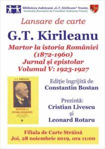 Lansare de carte G T Kirileanu vol5 nov2019
