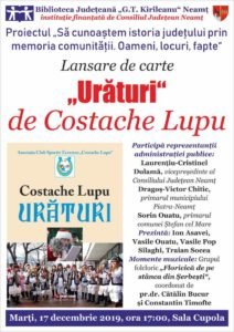 Afis lansare Costache Lupu Uraturi