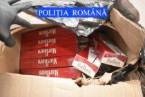 5.200 de pachete de țigări de contrabandă descoperite într-un autoturism cu numere false