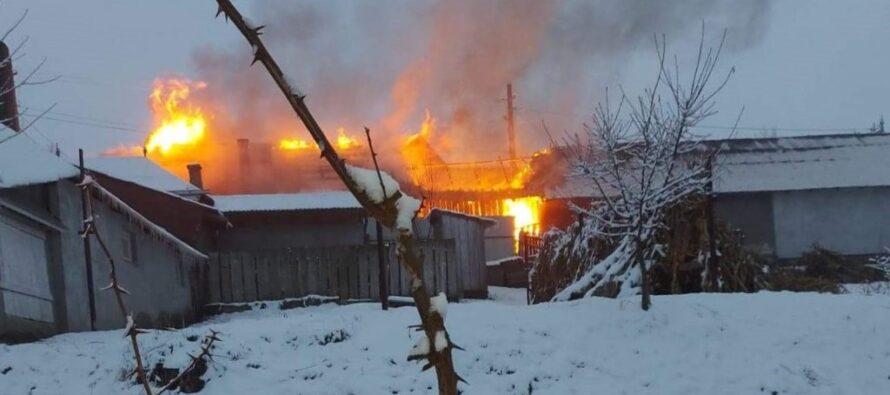 Incendiu extins la o gospodărie din Grumăzești