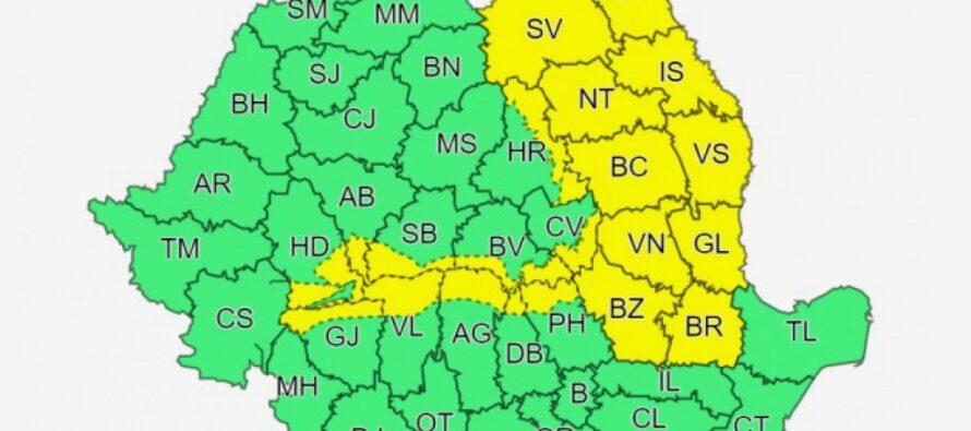 Cod galben de ninsori și vânt pentru următoarele 2 zile