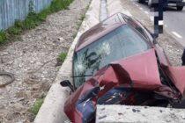 Accident rutier la Brusturi. Un autoturism a ieșit de pe șosea și s-a oprit într-un șanț.