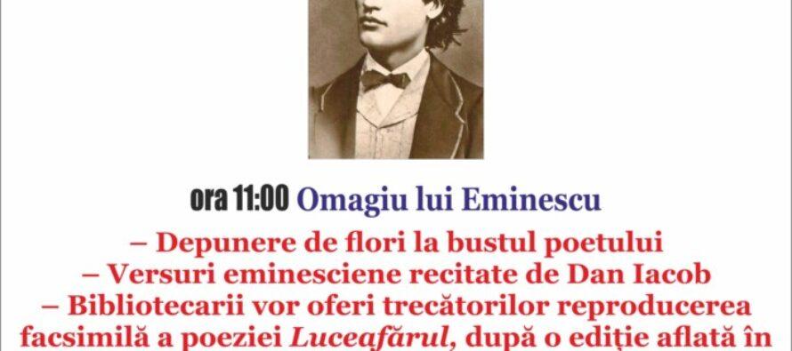 Manifestări culturale în memoria lui Mihai Eminescu la Biblioteca Județeană