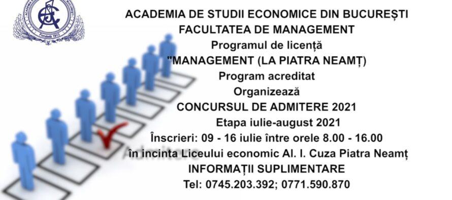 Înscrieri la programul de licență Management organizat de ASE București la Piatra Neamț
